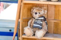 与为儿童慈善显示的冬天围巾的美丽的玩具熊 库存照片