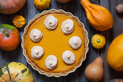与为感恩做的打好的奶油的欢乐自创南瓜饼,万圣夜 顶视图 秋天栗子装饰葡萄10月石榴木头 库存图片