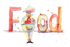 与主厨的登记食物 免版税库存照片