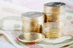 与乌克兰金钱的财政背景 免版税库存照片