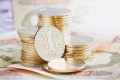 与乌克兰金钱的财政背景 库存照片