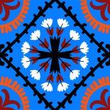 与乌兹别克人和哈萨克人主题的Suzani样式 免版税库存图片