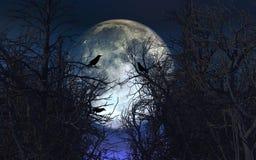与乌鸦的鬼的背景在反对被月光照亮天空的树 库存照片