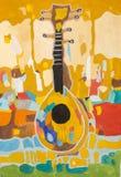与乐器的儿童` s图画树胶水彩画颜料装饰静物画 库存照片
