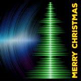 与乙烯基凹线的音乐圣诞树卡片 免版税库存图片
