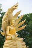 与九的菩萨雕象朝向蛇 免版税图库摄影