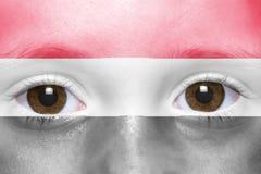 与也门旗子的面孔 图库摄影