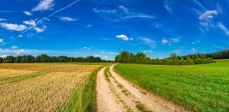 与乡下公路和领域的美好的夏天风景 库存图片