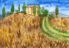与乡间别墅、领域和绿色树的农村风景 库存照片