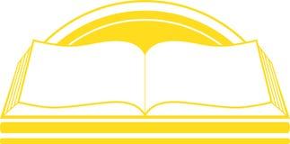 与书和日出的图标 免版税图库摄影