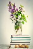 与书和春天花的构成 免版税库存照片