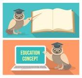 与书和膝上型计算机的明智的猫头鹰 免版税库存图片