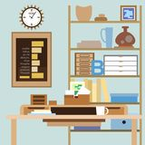 与书桌、架子、箱子和其他项目的工作区 库存例证
