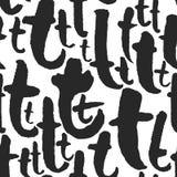与书法的传染媒介无缝的样式在T上写字 免版税库存图片