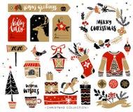与书法的圣诞节手拉的设计元素 库存例证