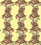 与书的传染媒介手拉的无缝的样式 免版税库存图片