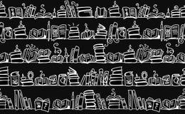 与书的无缝的样式在书架,剪影设计 免版税库存图片