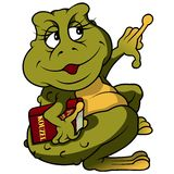 与书的青蛙 免版税库存照片