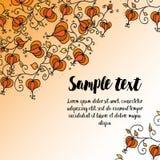 与乱画花卉样式的秋天的卡片 免版税库存照片