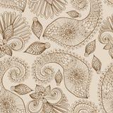 与乱画花和佩兹利的花卉无缝的模式 免版税库存图片