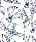 与乱画贝壳的无缝的纹理 库存图片