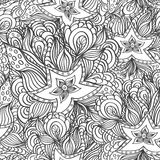 与乱画海星和海草的无缝的样式在上色页的黑白色 库存图片