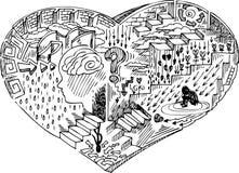与乱画的心脏形状 免版税库存图片