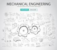与乱画设计样式的机械工程概念 皇族释放例证