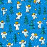 与乱画跳舞天使和杉树的无缝的样式 胜利 免版税库存照片