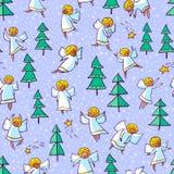 与乱画跳舞天使和杉树的无缝的样式 胜利 免版税图库摄影