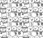 与乱画雪人的无缝的黑白纹理 皇族释放例证