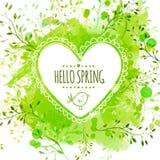 与乱画鸟和文本你好春天的白色手拉的心脏框架 与叶子的绿色水彩飞溅背景 创造性的vect 库存例证