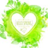与乱画鸟和文本你好春天的白色手拉的心脏框架 与叶子的绿色水彩飞溅背景 艺术性的vect 免版税库存照片