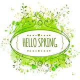 与乱画鸟的白色手拉的华丽框架和模板发短信给你好春天 绿色水彩飞溅背景 创造性的设计 库存照片
