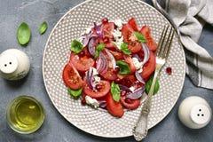 与乳清干酪和红洋葱的地中海蕃茄沙拉 顶视图 免版税库存照片