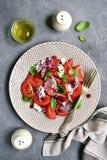 与乳清干酪和红洋葱的地中海蕃茄沙拉 顶视图 库存照片
