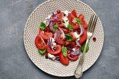 与乳清干酪和红洋葱的地中海蕃茄沙拉 顶视图 免版税库存图片