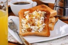 与乳清干酪的多士在早餐 免版税库存图片