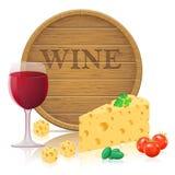 与乳酪和酒传染媒介illustratio的静物画 皇族释放例证