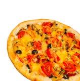 与乳酪特写镜头的开胃薄饼在白色 库存图片
