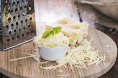与乳酪磨丝器的Emmentaler 库存图片