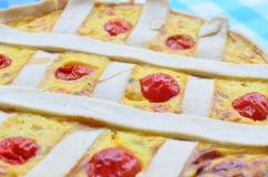与乳酪顶部和西红柿的南瓜馅饼 免版税库存图片