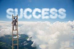 与事业梯子的商人到达的成功 库存图片