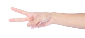 与二个手指的现有量在和平 免版税图库摄影