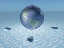 与二进制代码和鼠标的地球 免版税图库摄影