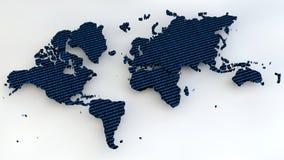 与二进制数的世界地图作为纹理 库存照片
