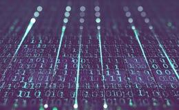 与二进制编码的未来派背景 数据保护和交换在全球网络的 3d例证 库存例证