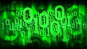 与二进制编码的矩阵绿色背景,遮蔽在抽象未来派网际空间,大数据云彩的数字式代码  库存照片