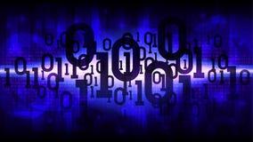 与二进制编码,与数字式代码的矩阵蓝色背景,大数据云彩的抽象未来派光亮的网际空间  免版税图库摄影