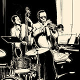 与二重低音喇叭钢琴和鼓的爵士乐队 免版税库存图片